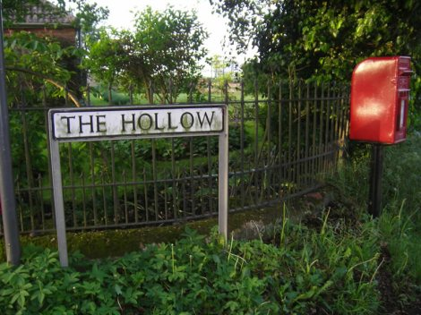 the top of thehollow