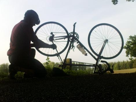 John repairs the spokes