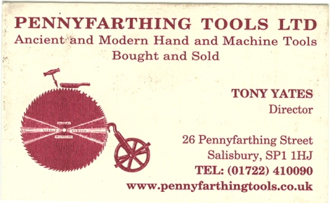 business card of Penny Farthing Tools Salisbury