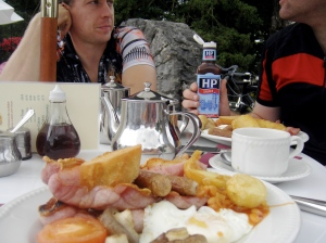 A full english breakfast about to be sacrificed to my cavernous maw. Andy can't watch.