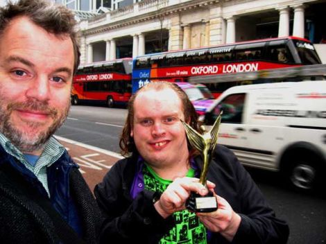 Tom Stubbs and Michael Smith in London with the award for Light and Dark