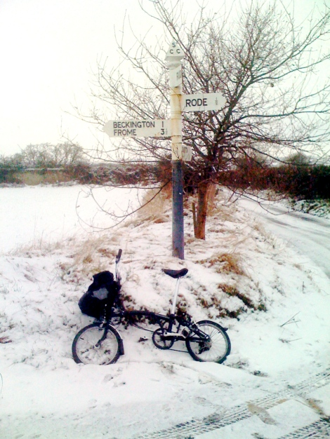 I rode out of the village in the snow to get a fresh coffee