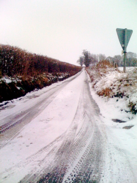 The snow was not deep, but the roads were slippy