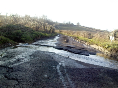 A stream across the road