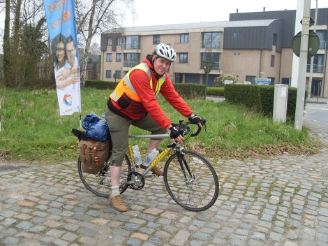 Your author on Belgian Cobbles - Ypres