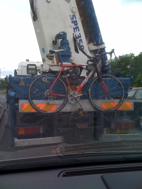 bike on back of lorry